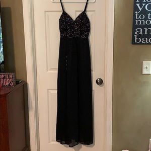 Black sequins romper with long coverup